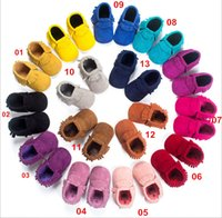 Wholesale Suede Moccasins Wholesale - New Arrive Baby Kids Good Quality PU Soft Shoes Boys Girls Slip-On Suede tassel moccasins bow moccs baby first walker shoes 19 colors