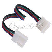 conector hembra rgb led al por mayor-Comercio al por mayor 5 unids 4 Pin 10 MM Mujer DIY PVC RGB LED Adaptador de Conector de Tira de PCB Para 5050 RGB LED Luces WS2801 LPD8806 RGB LED Tira