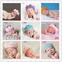 Wholesale Crochet Prince - Newborn Baby Girl Boy Crochet Knit Prince Crown Headband Hat Hair Accessories