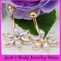 Wholesale Sexy Girl Navel - 2015 Fashion plated Gold Sexy Flower belly ring body piercing navel jewelry 10pcs lot