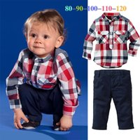 Wholesale Boys Shirt Pockets - 2015 New Arrivals Spring Autumn boys plaid casual suits children's long sleeve shirt +pants kids piece fitted children clothing C001