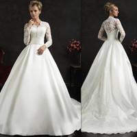 Wholesale Elegant Bridal Wedding Dress Satin - Vintage Wedding Dresses 2016 Long Sleeves White Satin And Lace A-line Covered Buttons Court Train Elegant Bridal Gowns Amelia Sposa Brides