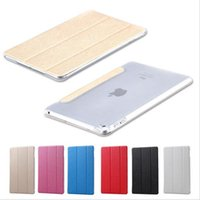 Wholesale Bling Ipad Back Cover - Apple iPad 5 6 mini 1 2 3 4 Air 2 Pro 9.7inch Cases Ultra Slim Luxury Silk Pattern Bling Series PU Leather Smart Case Stand Clear Back Cover