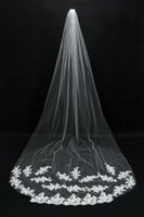 Wholesale Soft Lace Long Veils - Hot Selling Bridal Veils Cheap Long Veils Soft Tulle Long Veil with Lace on the Edge Cathedral Veils for Wedding Events CPA067
