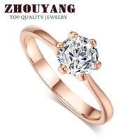 Wholesale Round Setting Diamond Ring 6mm - ZYR014 18K Real Gold Plated Six Claw CZ Diamond Round Cut 1 Carat 6mm Wedding Ring Austrian Crystals Wholesale For Women