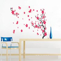 Wholesale Red Blossom Wall Decal - Red plum blossom TV background wall sticker home decor Wall Art Sticker door decoration Decals windows Living room