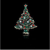 Wholesale Dress Jewelry Tree - Christmas Gift Brooches Pins For Women Children's Jewelry Dress Gift Crystal Christmas Tree Fine Jewlery High Quality Shawl Buckle Broo