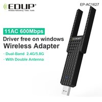 Wholesale Free Windows Drivers - Wholesale- 5ghz wireless usb wi-fi adapter 600mbps double 6dbi wifi antennas 802.11ac usb network card driver free on windows for laptop PC