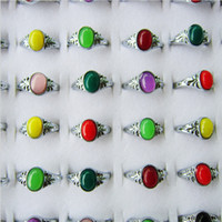 Wholesale Man Ring Jade Silver - Fashion Simulation Jade Gemstone Finger Ring Popular Silver Couple Rings Jewelry For Women and Men 48pcs box 2015 New Arrival