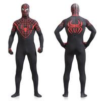 Wholesale Spiderman Onesie - Red Web Black Spiderman Zentai Suit Superhero Cosplay Costume Halloween Onesie Costumes Kigurumi High Quality Flexable Lycra Spandex