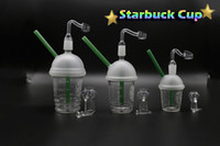 Wholesale Glass Cups For Cupping - Starbuck Dabuccino Cup With Free Quartz Banger 10mm 14mm 18mm Male Oil Rigs For Glass Bongs Oil Rigs Glass Water Filtra
