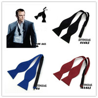 Wholesale Self Bow Ties - 2015 Mens Formal Self-Tie Bow Tie Adjustable Neck Band for Easy Sizing Groom Bow Tie Dhyz