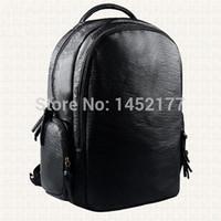 Wholesale Bagpack Outdoors - Wholesale-Motorcycle designer brand black leather backpacks outdoors vintage mens casual travel bags tactical rucksack male laptop bagpack