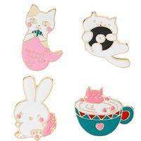 Wholesale Glass Diamond Buttons - Cute Cartoon Cats Rabbit Soft Enamel Brooch Pin Set for Clothes Hat Bag Scarf Corsage Badge Lapel Button Pin Accessories