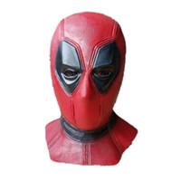 ingrosso costumi del supereroe trasporto libero-Nuovo Latex Deadpool Mask Superhero Balaclava Halloween Costume Party Full Face Latex Mask Spedizione gratuita