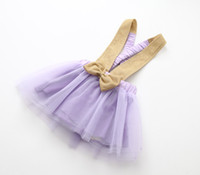 Wholesale Wholesale Flare Skirts - children summer dress mini pleat skirt suspenders dress for kids with bowknot
