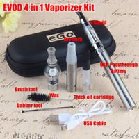 Wholesale ego ce4 usb passthrough - Original 4 in 1 Starter Kits USB Passthrough 510 battery Electonic cigarette Multi Vaporizer eGo ce4 Vape Pen dry herb tank factory sell