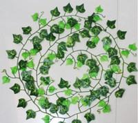 flor artificial vides de plástico al por mayor-240 cm Artificial Ivy Leaf Guirnaldas Plantas de plástico verde largo Vine Fake Foliage flor decoración del hogar decoración de la boda