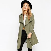 ingrosso vestiti di trincea-Spring Trench Coat For Women 2016 Moda Donna Impermeabile con cintura Plus Size Slim Outwear Cappotto donna Top Quality Outfit Capo XL