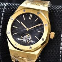 Wholesale Waterproof Wristwatches - 2017 New luxury brand waterproof royal oaks flywheel gold watches men 2 pointer automatic mechanical aaa watch AAA replicas wristwatches