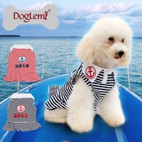 Wholesale Dress Size Small Free Shipping - Free shipping !!! 10pcs lot,mixed size and color,Anchor Stripe Summer Spring Pet Dog Puppy Dress Clothes