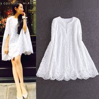 Wholesale Short Dress Shawl - 2015 summer ladies temperament left bank Xiao same paragraph shawl cape-style lace dress loose short fairy god Fan