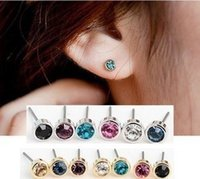 Wholesale Austrian Crystal Earrings Flower - Stud Earrings Charm Earings Ear Stud Earing Shinny Rhinestone Earrings Jewelry Accessories Multicolor Simple Austrian Crystal Earing 5mm