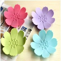 Wholesale 3d Flower Shaped Silicone - Silicone Soap Dish 3D Mini Flower Shape Soaps Holder Non Slip Home Bathroom Articles Multi Color 2 3zb C