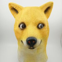 Wholesale Cartoon Head Costume - Halloween Party Mask Yellow Dog Costume Cartoon Latex Full Head Overhead Animal Cospaly Masquerade Fancy Dress Up Carnival Mask