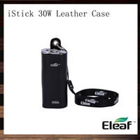 Wholesale Ego Leather Pouches - Eleaf iStick 30W Leather Case iStick eCig Carry Case Necklace Pouch eGo Lanyard For iStick 30W Mod Battery 100% Original