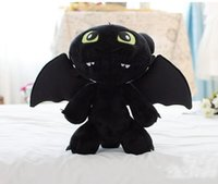 "Wholesale Toothless Plush Stuffed Animal - Hot sale 13"" 33cm HOW TO TRAIN YOUR DRAGON MINI PLUSH Toothless Night Fury Stuffed Animal toy Doll Black Anime Comics Cheap"