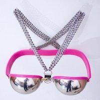 ingrosso cintura di castità del seno-Cintura di castità femminile rosa Dispositivi di castità in acciaio inox Bondage per il seno Vincolo SM Gioco per coppie Sex Toys