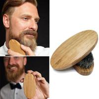 Wholesale Mens Under - New Arrival Mens Boar Hair Bristle Hard Round Wood Handle Beard Mustache Brush Set maquiagem