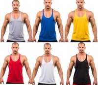 Wholesale Racerback Tank Tops - Wholesale Cotton Gym Tank Top Mens Bodybuilding Stringer Tops Undershirt Fitness Vest Muscle Sleeveless Singlet Racerback Top