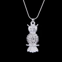 Wholesale Wholesale Tin Owls - New Arrival Vintage Owl Necklaces 925 silver retro owl Snake necklace sweater chain owls necklace free shipping