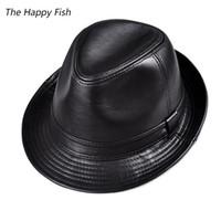 fedoras vintage al por mayor-Al por mayor-hombres fedora Trilby sombrero de cuero negro Fedora Hat para hombres chapeau homme vintage jazz sombreros para hombres chapeu fedora