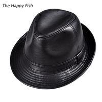 Wholesale vintage fedoras resale online - men fedora Trilby hat Black Leather Fedora Hat for men chapeau homme vintage jazz hats for men chapeu fedora