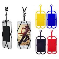 suporte de cartão para telefone celular venda por atacado-DHL ou EUB Colhedores De Silicone Pescoço Cinta Colar Sling Titular do Cartão Strap keychain para Celular Universal Móvel
