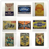Mobilgas Ford Shell Campione di moto Chevrolet Spider man Retro rustico in metallo di latta segno Wall Decor Vintage Cafe Shop Bar home decor
