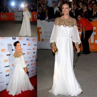 Wholesale Olivia Wilde Dresses - Arabic Dresses Olivia Wilde New Bateall Collar Delicate Gold Beadings Prom dresses White Chiffon Long Fashion Celebrity Dresses