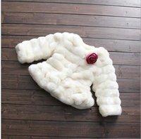 Wholesale Outwear Coat Flower - 4pcs \lot 2016 Kids Girls Faux Fur Coats Baby Girl Winter Warm Princess Outwear with flower Brooch Children's Fashion Clothing