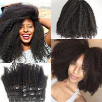 afro kinky curl saç uzantıları toptan satış-Avrasya afro kinky kıvırmak klip için Afro-Amerikan saç uzantıları 7 adet / takım 120 g / adet G-EASY saç kıvırcık klip ins