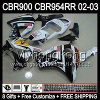 8Gifts Для HONDA белый черный 02-03 CBR954RR 02 03 CBR900RR 954 954RR Y6752 CBR 900RR CBR954 RR PLAYBOY 2002 2003 Free Customized обтекателя