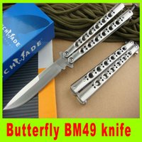 Wholesale Gift Box Knife - Butterfly BM49 Balisong Knife Titanium Butterfly BM 42 Knife (Plain) EDC pocket knife knives New in paper box gift 306L