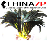 Wholesale Long Rooster Tail Feathers - Gold Supplier CHINAZP Crafts Factory Cheap Wholesale 30~35cm(12~14inch) 500pcs lot Part Dyed Yellow Rooster Tail Long Feathers