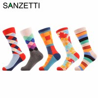 Atacado- SANZETTI 5 par / lot Men's Bright Funny Colorful Casual Cotton Socks Diamond Stripe Crazy Dress Party Socks New Year Gift