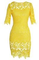 dantel iş kadın giyim toptan satış-Artı Boyutu Kadın Giyim 2019 Kadın Hollow Out Çiçek Dantel Kısa Kollu Örgün Elbise Kalem Elbise Kadın Iş Elbisesi