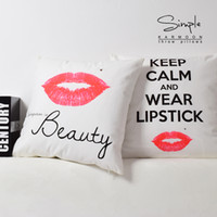 Wholesale red lips throw pillows resale online - Beauty Red Lips Wear Lipstick Art Cushion Covers Modern Home Decorative Sofa Throw Cushion Cover Soft Pillow Case For Bedroom