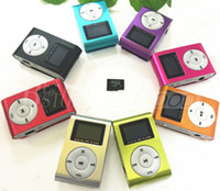 Wholesale black mini clip mp3 player online - MINI Clip MP3 Player With Inch LCD Screen Support Micro SD Card TF Slot Including Earphone USB Cable in Gift box