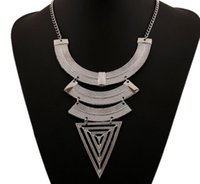 Wholesale European Type Charms - 2017 European retro Necklace geometric triangle type necklace pendant chain big trade clavicle sweater chain accessories